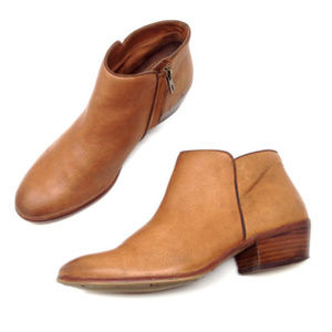 Sam Edelman Petty Brown Leather Heeled Ankle Boots